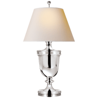 Classical Urn Form Large Table Lamp in Polished Silver with Natural Paper Shade