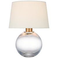 Masie Small Table Lamp in Clear Glass with Linen Shade