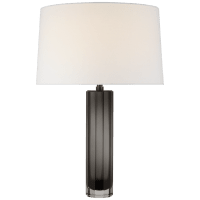 Fallon Medium Table Lamp in Smoked Glass with Linen Shade
