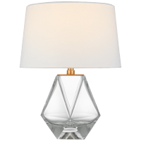 Gemma Small Table Lamp in Clear Glass with Linen Shade