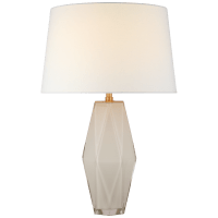 Palacios Large Table Lamp in White Glass with Linen Shade