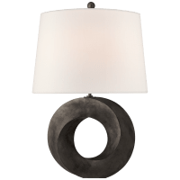 Mobius Medium Table Lamp in Aged Iron with Linen Shade