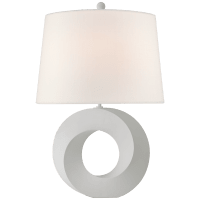 Mobius Medium Table Lamp in Matte White with Linen Shade