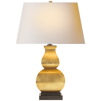Fang Gourd Table Lamp in Antique-Burnished Brass with Natural Paper Shade