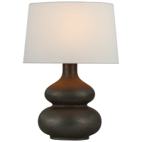 Lismore Medium Table Lamp in Stained Black Metallic with Linen Shade