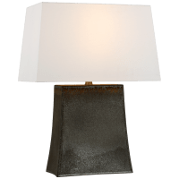 Lucera Medium Table Lamp in Stained Black Metallic with Linen Shade