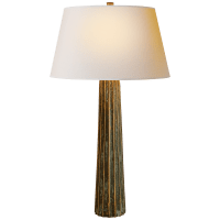 Fluted Spire Large Table Lamp in Bronze with Verdigris Highlights with Natural Paper Shade