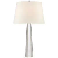 Octagonal Spire Medium Table Lamp in Crystal with Linen Shade