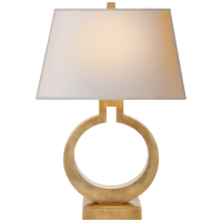 Ring Form Large Table Lamp in Antique-Burnished Brass with Natural Paper Shade