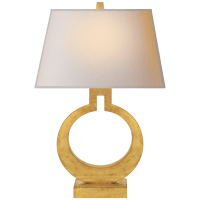 Ring Form Large Table Lamp in Gilded with Natural Paper Shade