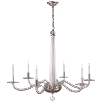 Robinson Large Chandelier in Polished Nickel and Clear Glass