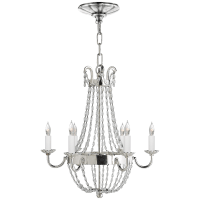 Petite Paris Flea Market Chandelier in Polished Silver and Seeded Glass