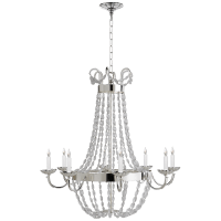 Paris Flea Market Large Chandelier in Polished Silver with Seeded Glass