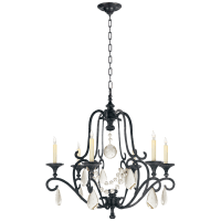 Piedmont Chandelier in Aged Iron with Seeded Glass