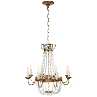 Paris Flea Market Medium Chandelier in Antique-Burnished Brass and Seeded Glass