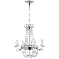 Paris Flea Market Medium Chandelier in Polished Silver and Seeded Glass