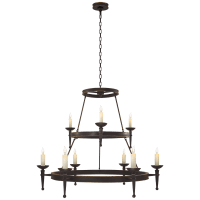 Dorset Large Torch Chandelier in Weathered Iron with Antique Gold Accents