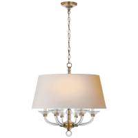Crystal Stacked Ball Hanging Shade in Antique-Burnished Brass and Crystal with Natural Paper Shade
