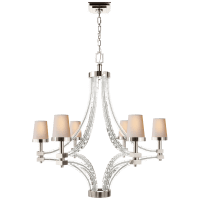 Crystal Cube Large Chandelier in Polished Nickel with Natural Paper Shades