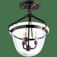 Country Semi-Flush Bell Jar Lantern in Bronze
