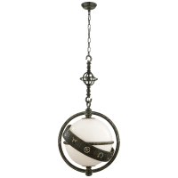 Zodiac Lantern in Bronze with Verdigris Highlights with White Glass
