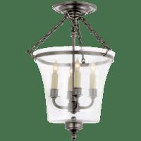 Sussex Semi-Flush Bell Jar Lantern in Antique Nickel