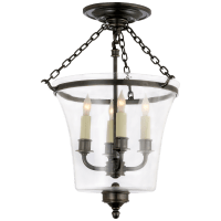 Sussex Semi-Flush Bell Jar Lantern in Bronze