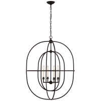Desmond Open Double Oval Lantern in Aged Iron