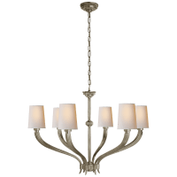 Ruhlmann Large Chandelier in Antique Nickel with Natural Paper Shades