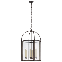 Riverside Large Round Lantern in Bronze with Clear Glass