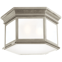 Club Large Hexagonal Flush Mount in Antique Nickel with Frosted Glass