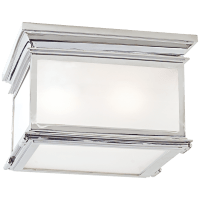 Club Large Square Flush Mount in Polished Nickel with Frosted Glass