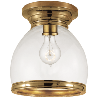 Edwardian Open Bottom Flush Mount in Antique-Burnished Brass with Clear Glass