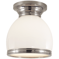Edwardian Open Bottom Flush Mount in Antique Nickel with White Glass