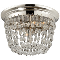 Paris Flea Market Small Flush Mount in Polished Silver with Seeded Glass