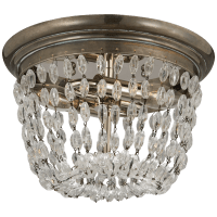 Paris Flea Market Small Flush Mount in Sheffield Silver with Seeded Glass