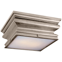 Square Flush Mount in Antique Nickel with Frosted Glass