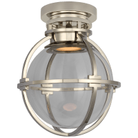 """Gracie 10"""" Captured Globe Flush Mount in Polished Nickel with Clear Glass"""
