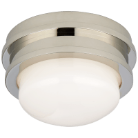 """Launceton 5"""" Solitaire Flush Mount in Polished Nickel with White Glass"""