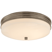 Launceton Small Flush Mount in Antique Nickel with White Glass