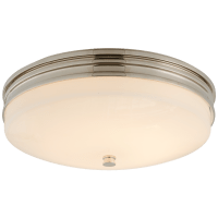 Launceton Small Flush Mount in Polished Nickel with White Glass