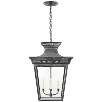 Elsinore Extra-Large Hanging Lantern in Weathered Zinc with Clear Glass