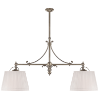 Sloane Double Shop Pendant in Antique Nickel with Linen Shades