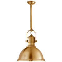Country Industrial Large Pendant in Antique-Burnished Brass with Antique-Burnished Brass Shade