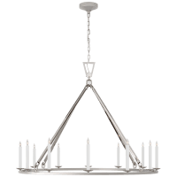 Darlana Extra Large Single Ring Chandelier in Polished Nickel