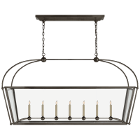 Riverside Large Linear Pendant in Bronze with Clear Glass
