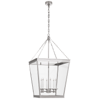 Launceton Large Square Lantern in Polished Nickel with Clear Glass
