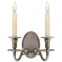 Grosvenor House Double Sconce in Antique Nickel
