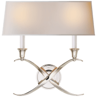Cross Bouillotte Large Sconce in Polished Nickel with Natural Paper Shade