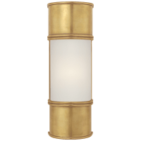 """Oxford 12"""" Bath Sconce in Antique-Burnished Brass with Frosted Glass"""
